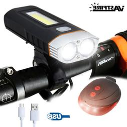 Bicycle Front Light T6+COB Work Head Lamp Taillight Recharge