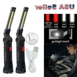 Magnetic Rechargeable COB LED Work Light Lamp Flashlight Fol